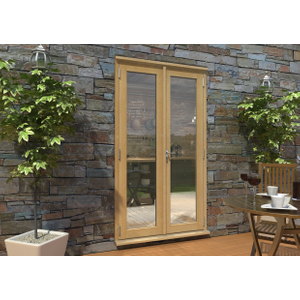 Rohden Oak Unfinished Engineered External French Doorset - 83in X 47in X 44mm (2100mm X 12 7531200