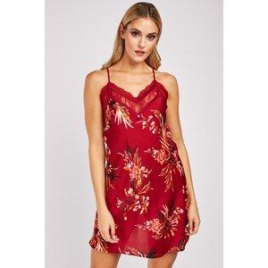 Everything5pounds.com Sateen Flower Print Slip Dress Wine/multi 669897 324643 156859 Lingerie, Wine/Multi