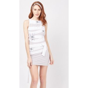 everything5pounds.com Yummy Mummy Spider Print Dress White/Grey 652795 293010 3421 Lingerie, White/Grey