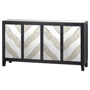 Hill Interiors 20643 Soho Collection 4 Door Sideboard MIRRORED GLASS Width 160cm Height 90cm Depth 40cm Weight 41.00kg, BLACK