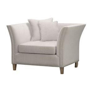 Hill Interiors 21446 Vesper Cushion Back Snuggle Chair WOOD Width 120cm Height 82cm Depth 89cm Weight 20.00kg, CREAM