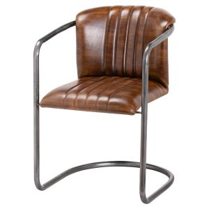 Hill Interiors 21047 Billy Leather Dining Chair BROWN Width 61cm Height 81cm Depth 52cm Weight 11.30kg, Furniture > Seating > Stools
