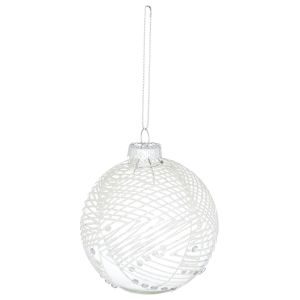 Hill Interiors 21989 The Noel Collection Abstract Glitter Bauble GLASS Width 8cm Height 8cm Depth 8cm Weight 0.03kg, SILVER
