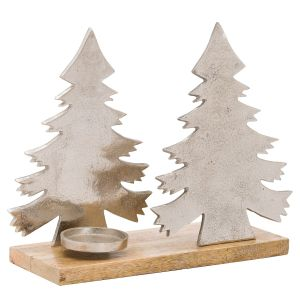 Hill Interiors 21072 The Noel Collection Christmas Tree Tea Light Holder METAL Width 25cm Height 33cm Depth 13cm Weight 1.79kg, SILVER