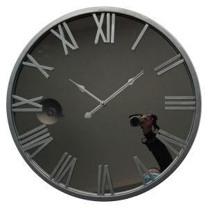 Hill Interiors 21612 Mayer Mirrored Wall Clock GLASS Width 60cm Height 60cm Depth 4cm, SILVER