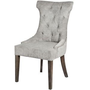Hill Interiors 18333 Silver High Wing Ring Backed Dining Chair SILVER Width 57cm Height 102cm Depth 62cm Weight 10.40kg, Furniture > Seating > Dining C