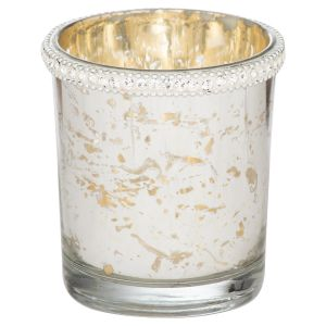 Hill Interiors 21897 The Lustre Collection Embellished Top Tea Light Holder GLASS Width 7cm Height 7cm Depth 7cm Weight 0.13kg, SILVER