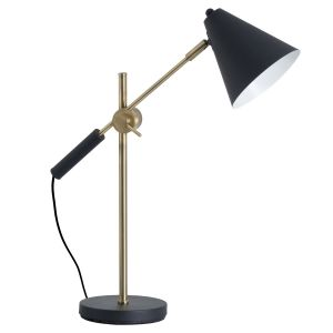 Hill Interiors 19689 Black And Brass Adjustable Desk Lamp With Cone Shade METAL Width 47cm Height 58cm Depth 18cm Weight 2.60kg, BLACK