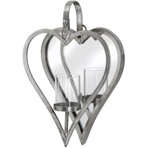 Hill Interiors 18302 Small Antique Silver Mirrored Heart Candle Holder METAL Width 23cm Height 34cm Depth 7cm Weight 0.80kg, SILVER