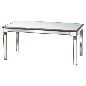 Hill Interiors 20220 The Belfry Collection Rectangle Mirrored Dining Table GOLD Width 90cm Height 80cm Depth 180cm Weight 44.00kg, GOLD