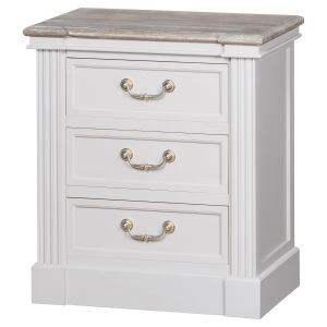 Hill Interiors 18875 The Liberty Collection Three Drawer Bedside WHITE Width 60cm Height 68cm Depth 38cm Weight 11.50kg, Furniture > Tables > Bedside T