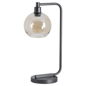 Hill Interiors 19684 Industrial Metal Desk Lamp With Smoked Glass BLACK Width 26cm Height 52cm Depth 26cm Weight 2.80kg, Lighting > Table Lamps