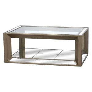 Hill Interiors 19171 Large Augustus Mirrored Coffee Table GLASS Width 130cm Height 52cm Depth 90cm Weight 58.00kg, GOLD