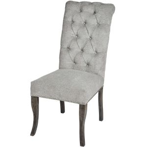 Hill Interiors 18331 Silver Roll Top Dining Chair With Ring Pull FABRIC Width 49cm Height 105cm Depth 71cm Weight 8.60kg, GREY