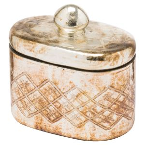 Hill Interiors 20955 The Noel Collection Burnished  Trinket Jar GLASS Width 12cm Height 13cm Depth 8cm Weight 0.46kg, SILVER