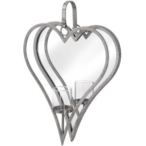 Hill Interiors 18303 Large Antique Silver Mirrored Heart Candle Holder METAL Width 36cm Height 50cm Depth 9cm Weight 1.30kg, SILVER