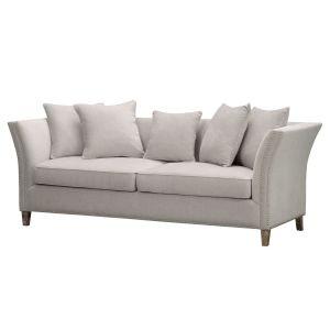 Hill Interiors 21445 Vesper  Cushion Back  Three Seater Sofa WOOD Width 225cm Height 82cm Depth 89cm Weight 42.00kg, CREAM