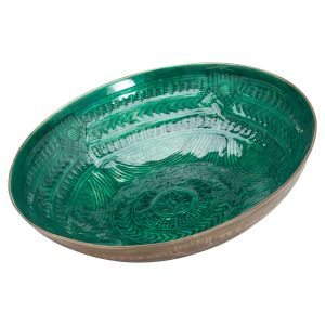 Hill Interiors 21087 Aztec Collection Brass Embossed Ceramic Large Bowl METAL Width 53cm Height 10cm Depth 53cm Weight 2.300000kg, GREEN
