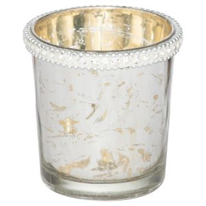 Hill Interiors 21898 The Lustre Collection Embellished Small Top Tea Light Holder GLASS Width 9cm Height 9cm Depth 9cm Weight 0.27kg, SILVER