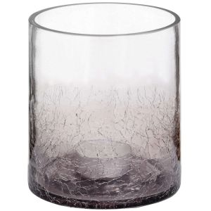 Hill Interiors 18788 Small Smoked Crackle Effect Candle Holder GREY Width 10cm Height 11cm Depth 10cm Weight 0.50kg, Gifts & Accessories > Glasswar