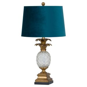 Hill Interiors 19373 Ananas Glass Table Lamp BLUE Width 38cm Height 71cm Depth 38cm Weight 1.70kg