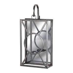 Hill Interiors 19156 Antique Silver Rectangle Mirrored Tealight Holder GLASS Width 25cm Height 52cm Depth 11cm Weight 1.60kg, SILVER