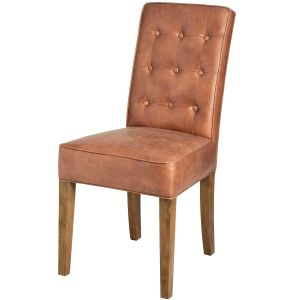 Hill Interiors 18334 Tan Faux Leather Dining Chair BROWN Width 64cm Height 96cm Depth 48cm Weight 7.50kg, Furniture > Seating > Dining C
