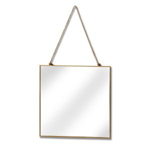 Hill Interiors 17071 Gold Edged Square Hanging Wall Mirror GOLD Width 25cm Height 25cm Depth 0cm Weight 0.50kg, Mirrors > Wall Mirrors