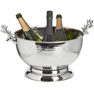 Hill Interiors 16982 Nickel Wine Cooler With Stag Handles 36cm SILVER Width 49cm Height 28cm Depth 36cm Weight 1.83kg, Gifts & Accessories > Storage