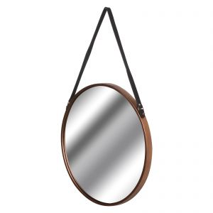 Hill Interiors 18868 Copper Rimmed Round Hanging Wall Mirror With Black Strap COPPER Width 54cm Height 54cm Depth 3cm Weight 2.78kg, Mirrors > Wall Mirrors