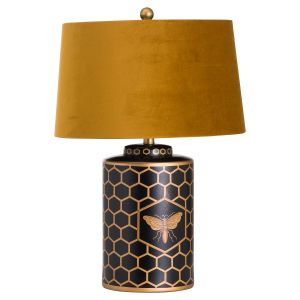 Hill Interiors 20689 Harlow Bee Table Lamp With Mustard Shade BLACK Width 43cm Height 65cm Depth 43cm Weight 3.90kg