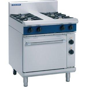 Blue Seal Evolution 4 Burner Electric Static Oven Natural Gas 750mm Ge505d/n Cooker Hoods