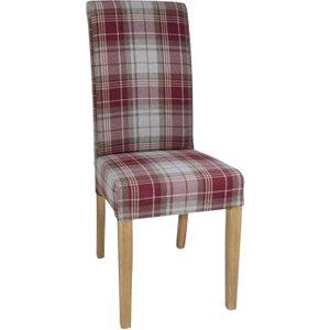 Bolero Austin Dining Chairs Wine Tartan (pack Of 2) Pack Of 2 Db989 Furniture