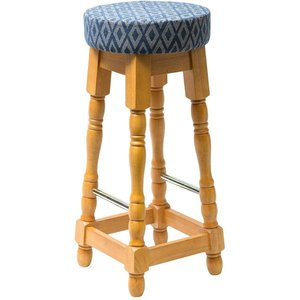 Nisbets Classic Soft Oak High Bar Stool With Blue Diamond Seat (pack Of 2) Pack Of 2 Bshsobld