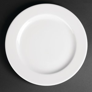 Royal Porcelain Classic White Wide Rim Plates 260mm (pack Of 12) Pack Of 12 Cg009 Crockery