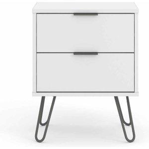 Augusta 2 Drawer Bedside Cabinet White, White 1095200406, White
