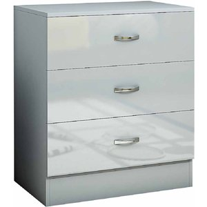 Chilton Deep 3 Drawer Chest With High Gloss Drawer Fronts, Grey 1095200356, Grey