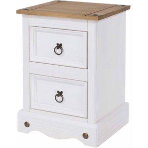 Corona White 2 Drawer Bedside Cabinet Petit, White 1096010265, White