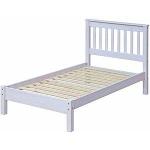 Corona White Wooden Slatted Single Bed Frame 3ft, White, White