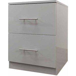 Helston Gloss 2 Drawer Bedside Cabinet, Grey 1095200374, Grey