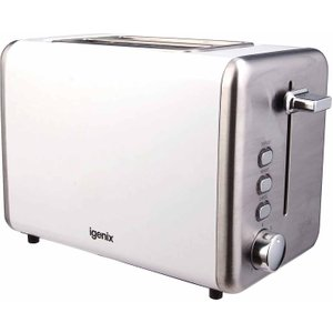 Igenix 2 Slice Toaster With Stainless Steel, White 5102400316, White