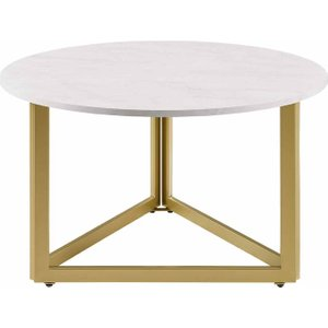 Lusaka Modern Metal Base Round Coffee Table, White Marble 1095200256, White Marble