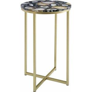 Melissa Faux Stone Round Side Table, Black 1095200187, Black