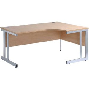 Dams Momento Right Hand Ergonomic Desk 1600mm, Beech, Beech