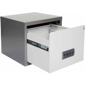 Pierre Henry A4 1 Drawer Stackable Maxi Filing Cabinet, Silver/white, Silver/White
