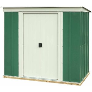 Rowlinson Greenvale Metal Pent Shed With Floor 6ft X 4ft, Green White, Green White