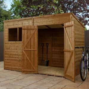 10 X 6 Pressure Treated Shiplap Double Door Pent Shed Si 005 001 0003 Sheds & Garden Furniture