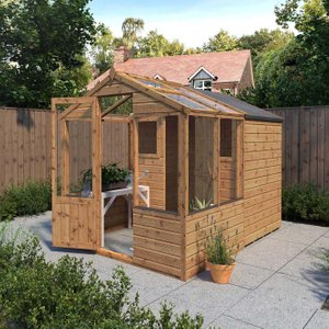 8 X 6 Shiplap Combi Greenhouse And Wooden Storage Shed Si 004 001 0024 Sheds & Garden Furniture