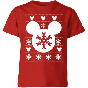 Disney Snowflake Silhouette Kids' Christmas T-shirt - Red - 9-10 Years - Red Yt 5967 B1302a Yl Childrens Clothing, Red