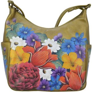 Anuschka  382 Dreamy Floral -hand Painted Leather  Women's Shoulder Bag In Green. Sizes Av, Green